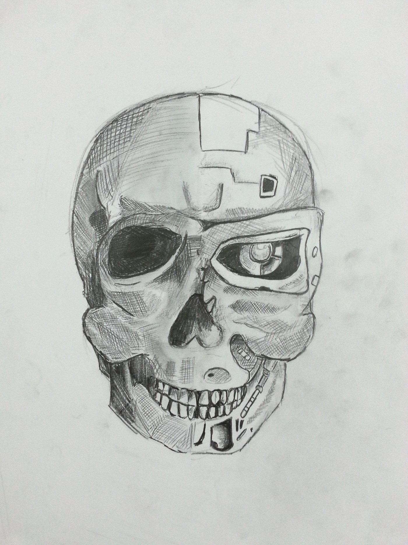 2014 Jan Terminator Human Skull Drawing By Ignatius Ng At Coroflot Com