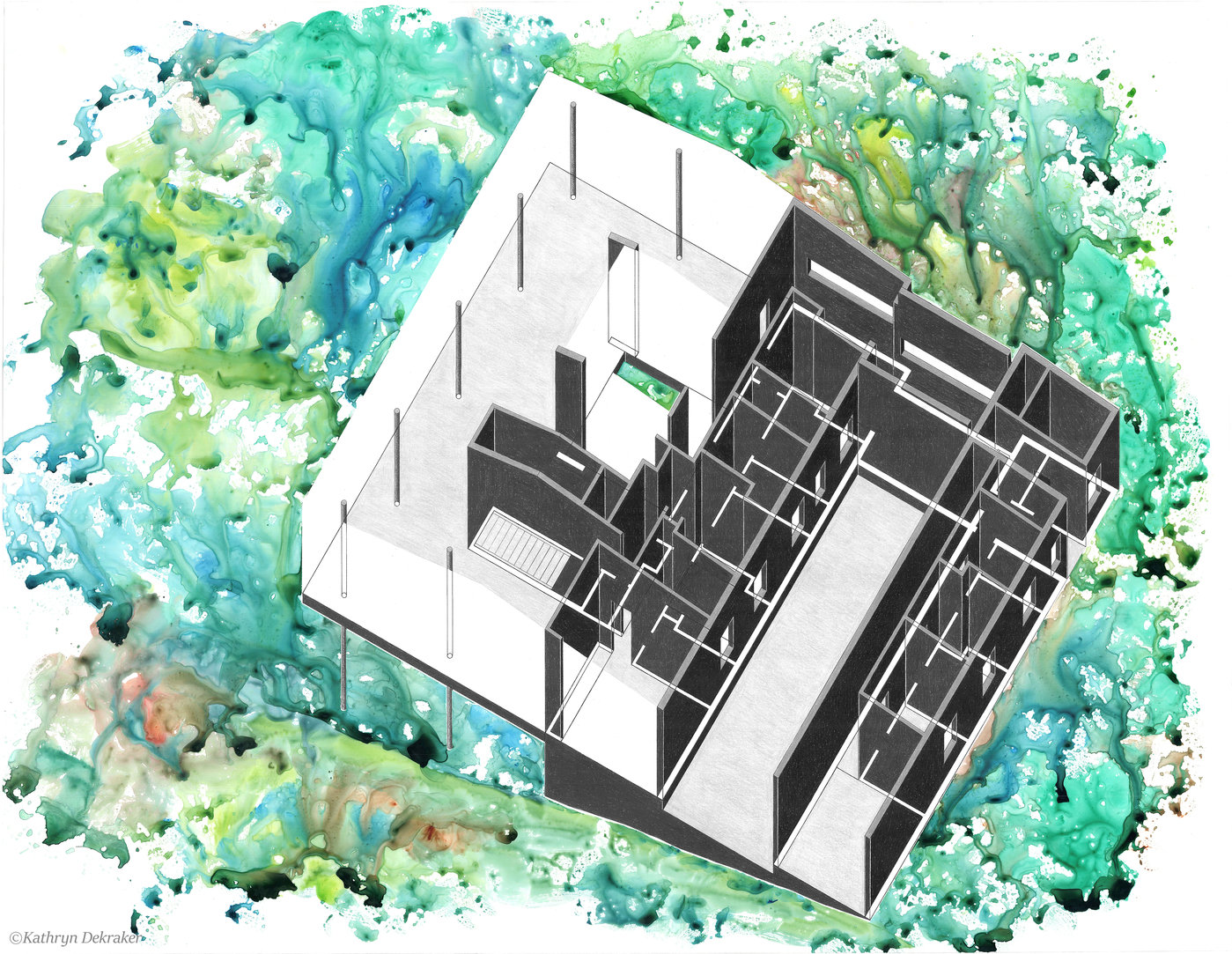 An axonometric crayon drawing of the glass house expresses contrast between the front and the rear and occupies a separate space from its rainforest
