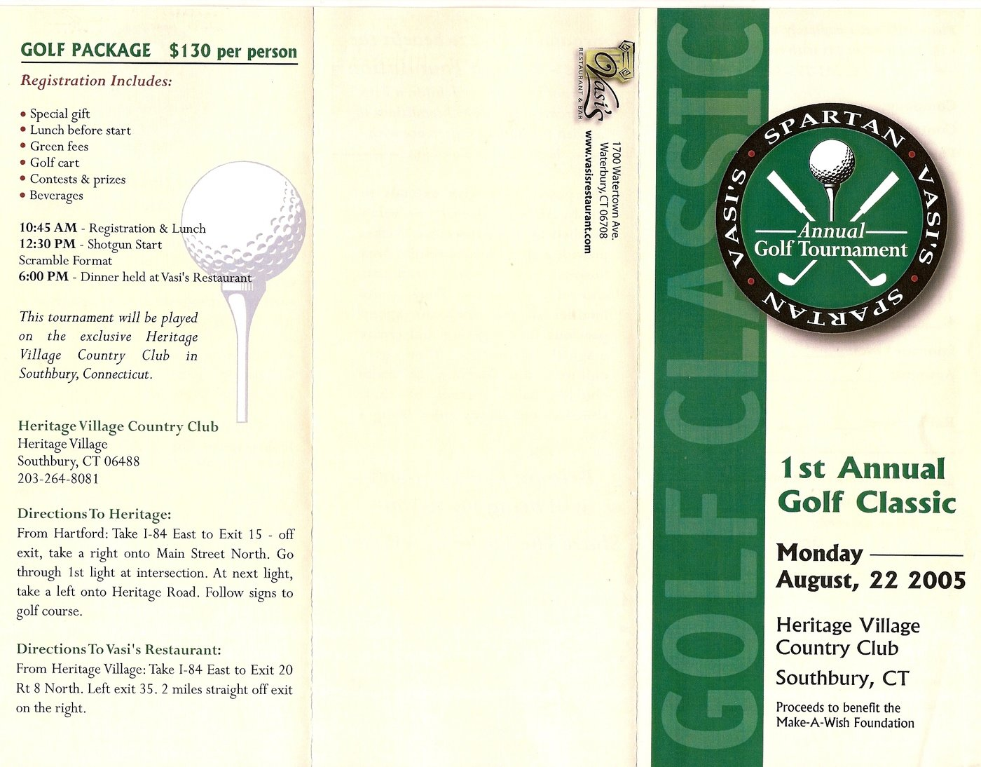 Vasi's/Spartant's Golf Tournament Brochure by Michelle R