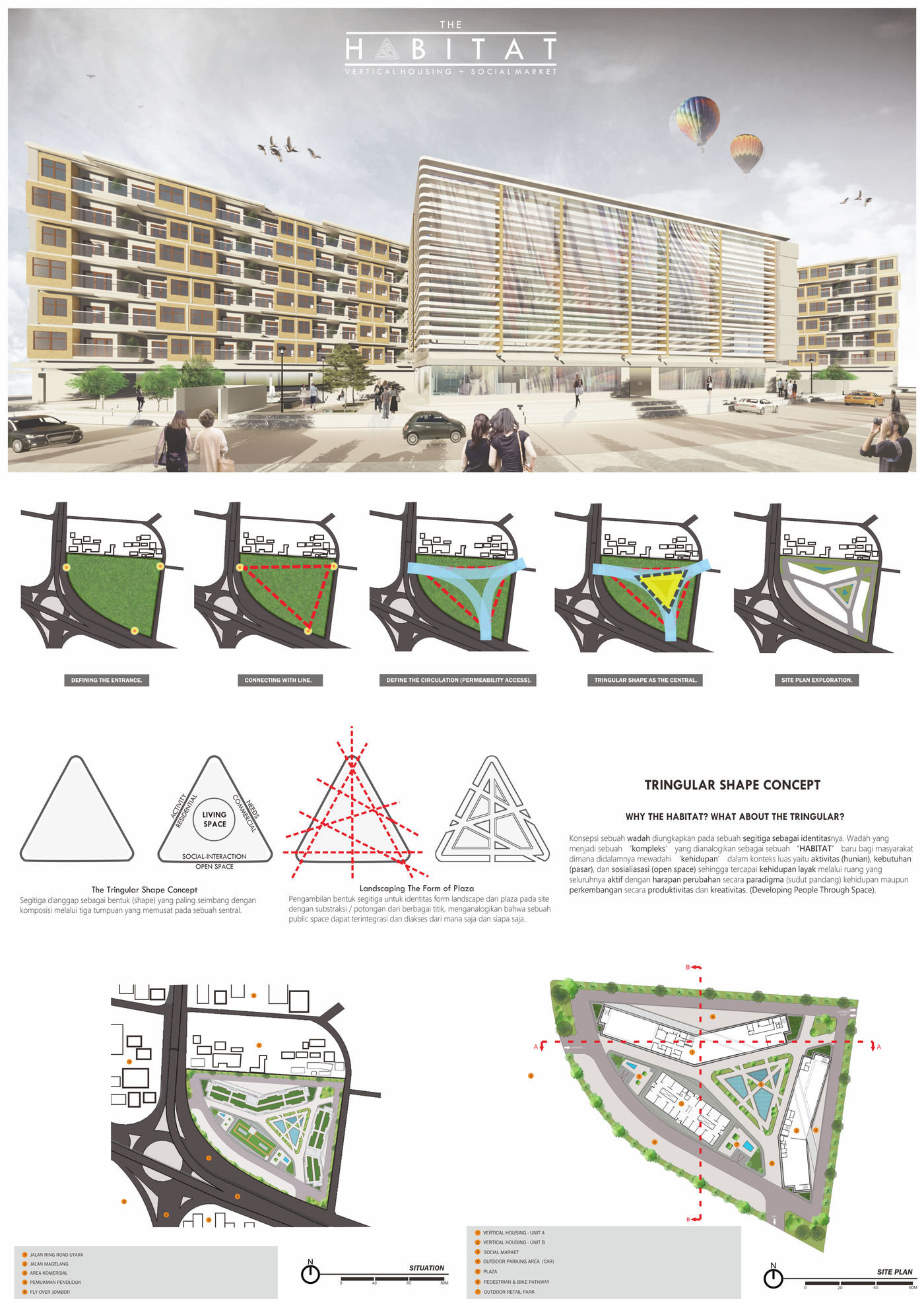 Studio #6: The Habitat - Vertical Housing + Social Market by Christopher Bahana at Coroflot.com
