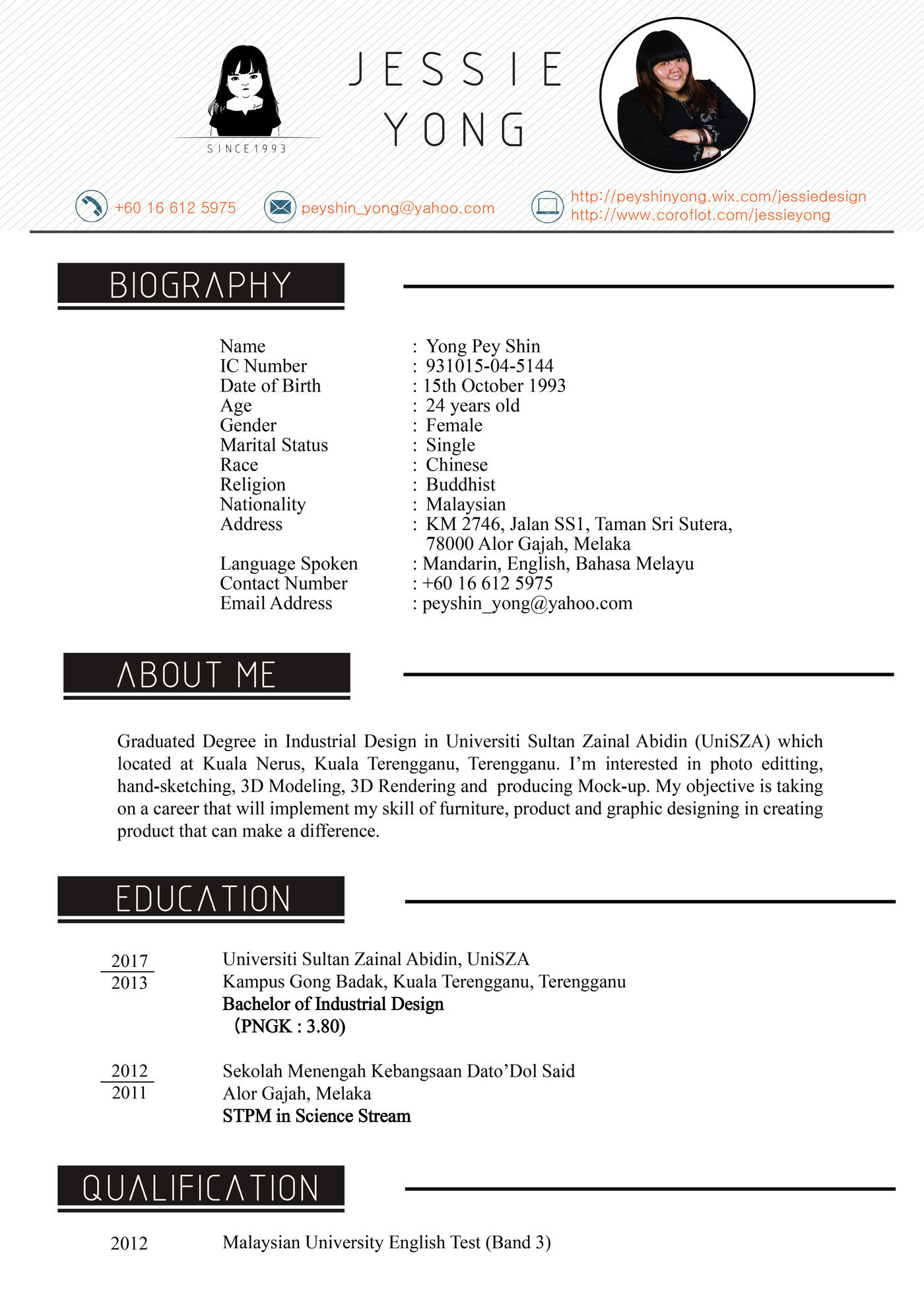 my updated resume by jessie yong at coroflot com