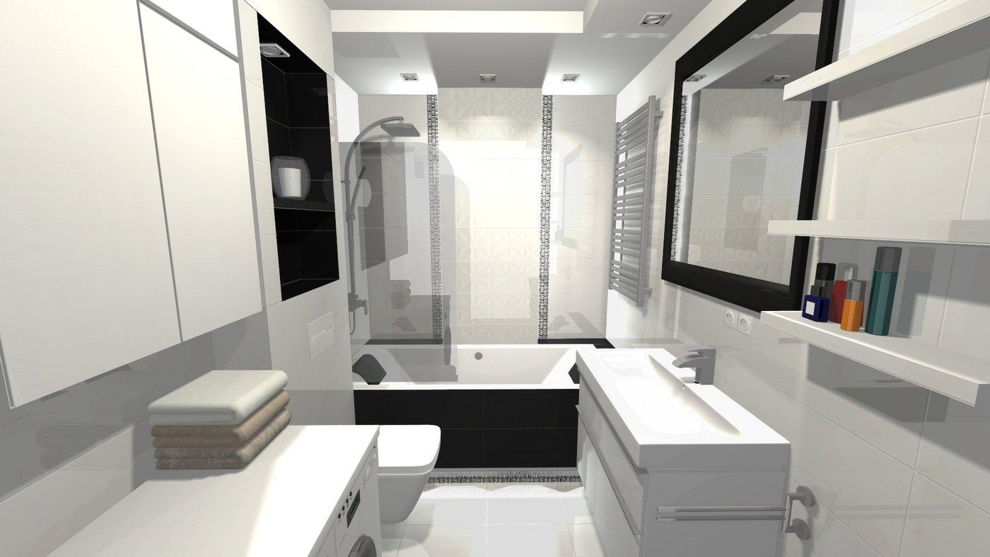 Mała łazienka W Bieli I Czerni By Agnieszka Kwaśny At