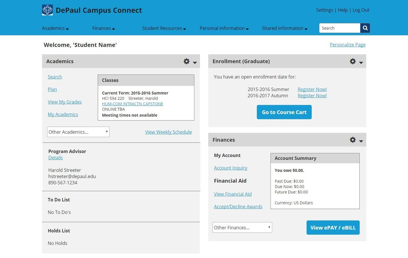 DePaul Campus Connect Redesign by Dominique Carney at