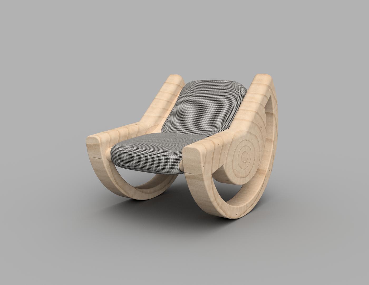 Peachy Circular Wedge Rocker Chair By Jordan Linton At Coroflot Com Customarchery Wood Chair Design Ideas Customarcherynet