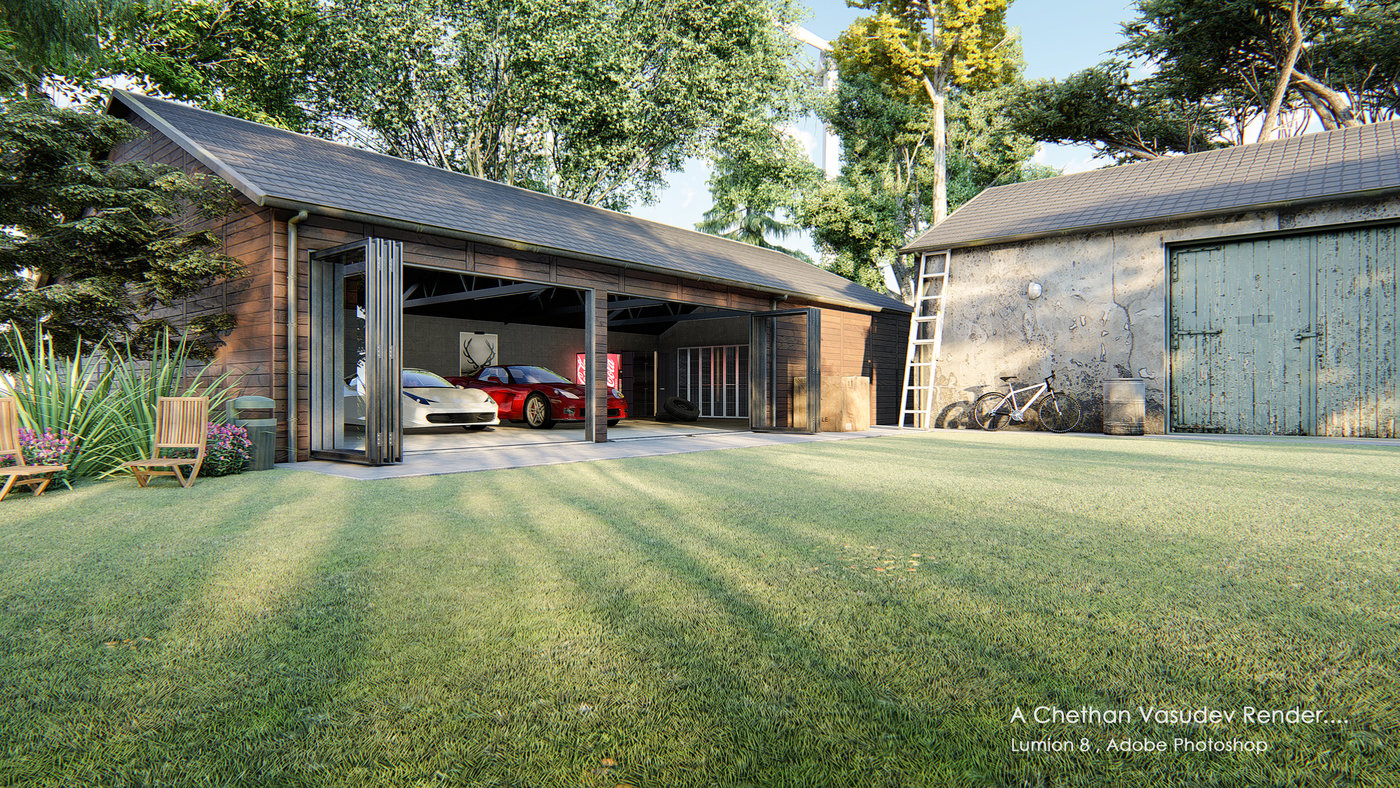 Lumion Render of Garage by Chethan Vasudev at Coroflot com