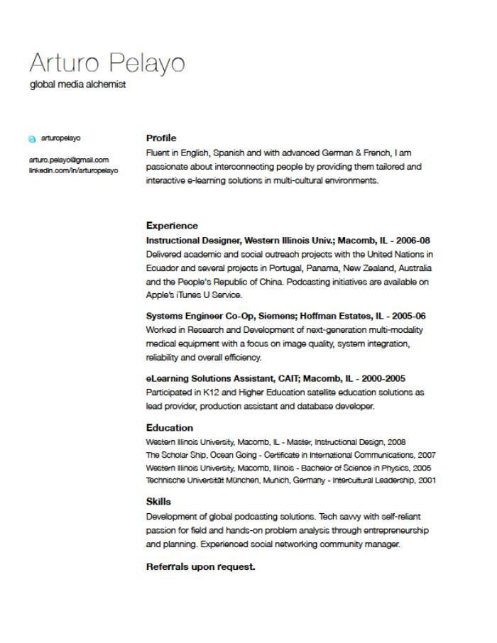 resume cv and business skills by arturo pelayo at coroflot com