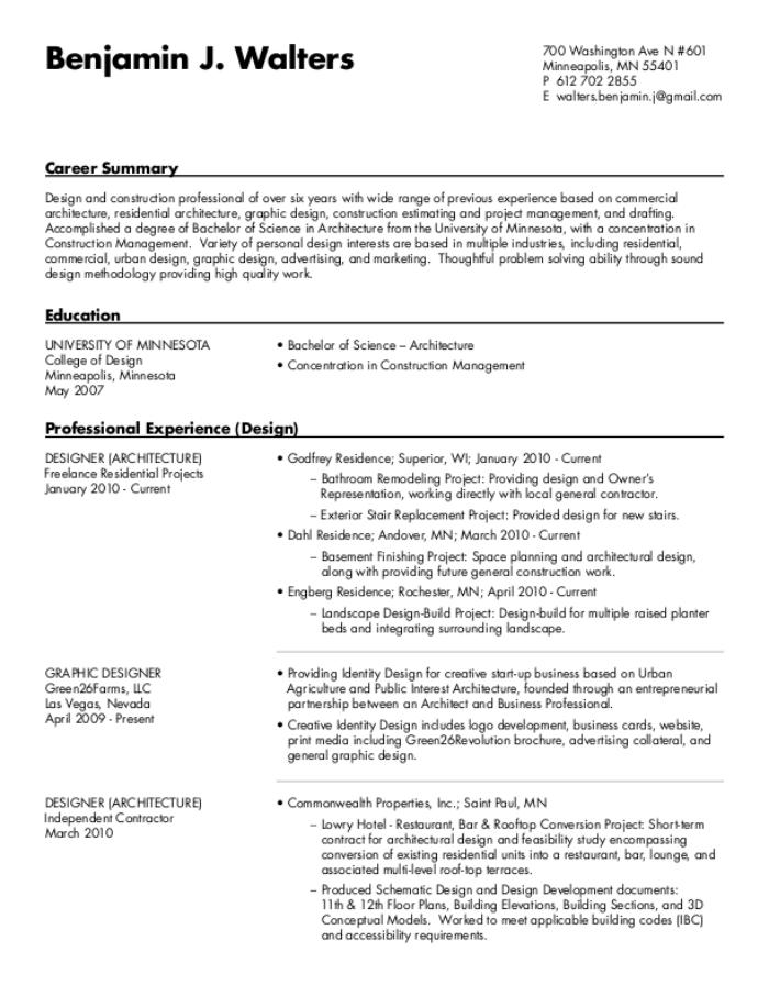 Resume by Benjamin J Walters at Coroflot com