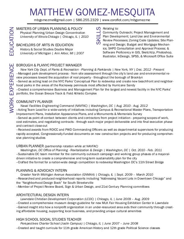 Urban Planning Resume by Matthew Gomez-Mesquita at Coroflot.com