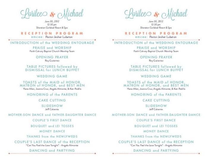 Wedding Reception Programs By Thirla Alagala At Coroflot