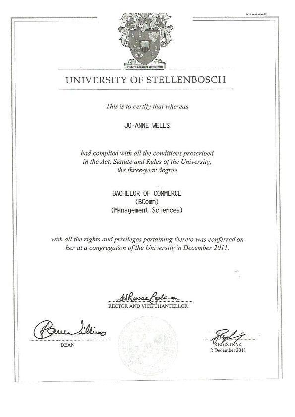 University of Stellenbosch: BComm Degree by Jo-Anne Wells at