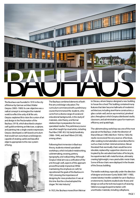 Editorial layout on history of Bauhaus by ZAINUL ARIFFIN at