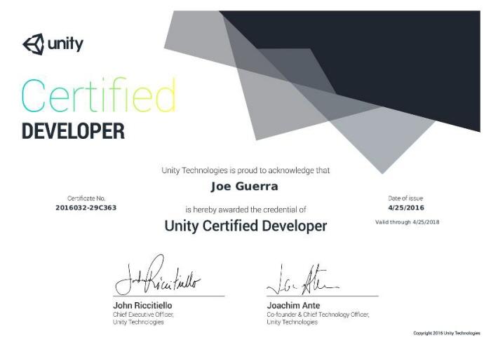 Unity Certifications by Joe Guerra at Coroflot com