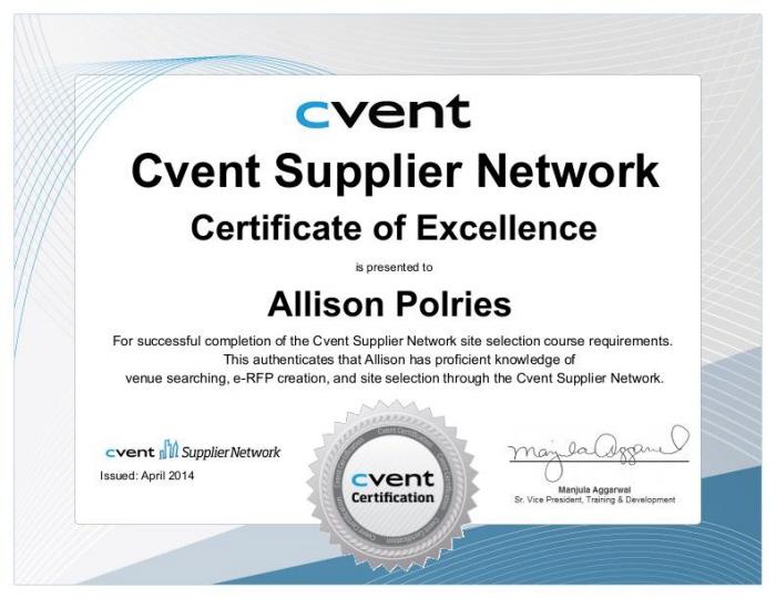 Cvent Supplier Network Certification by Allison Polries at Coroflot.com