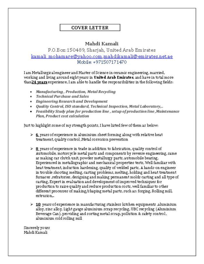 Cover Letter & CV by Mahdi Kamali at Coroflot.com