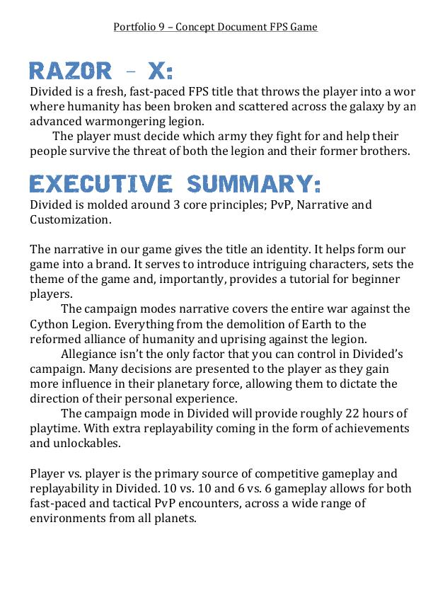HCD Divided Game By Paul Manning At Coroflotcom - Game concept document