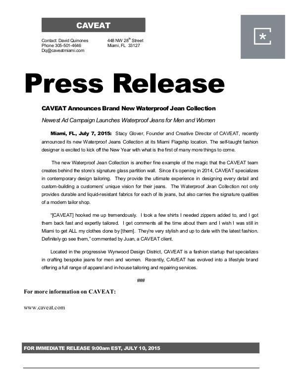 Caveat Press Release By David Quinones At Coroflot Com