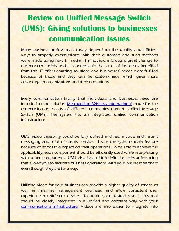 Review on Unified Message Switch (UMS): Giving solutions to