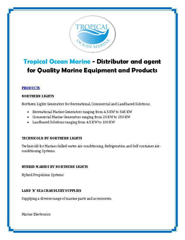Tropical Ocean Marine - Distributor and agent for Quality Marine