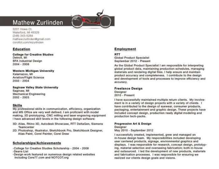 Resume by Mathew Zurlinden at Coroflot com